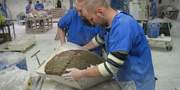 Showing studio potential of faience